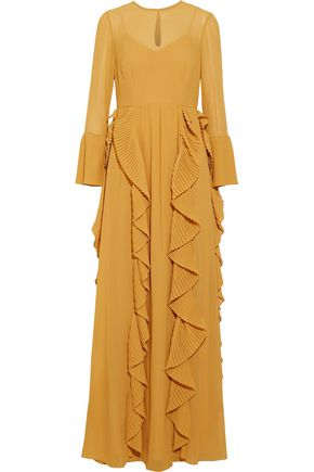 MIKAEL AGHAL Pleated chiffon georgette gown
