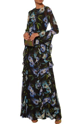 MIKAEL AGHAL Ruffled embellished floral-print chiffon gown