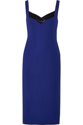 DION LEE Silk-satin trimmed stretch-knit midi dress