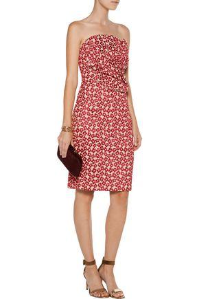 BADGLEY MISCHKA Strapless metallic floral-cloqué dress