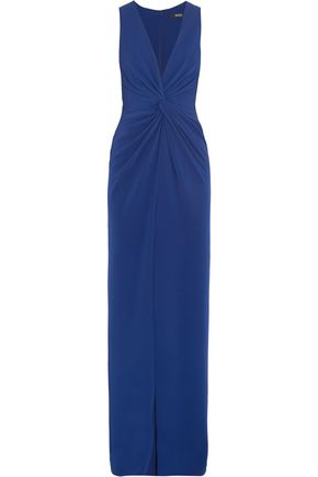 BADGLEY MISCHKA Gathered stretch-cady gown