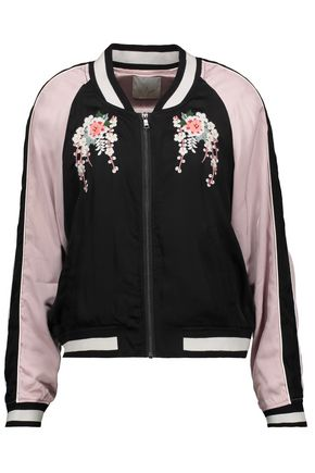 JOIE Embroidered satin bomber jacket