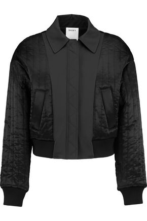9643b2289 Cropped shell-paneled quilted satin bomber jacket | DKNY | Sale up ...
