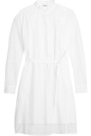 DKNY Layered belted cotton-blend mesh and poplin mini dress