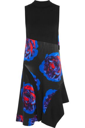 DKNY Printed satin-paneled merino wool dress