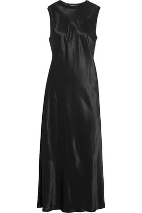 DKNY Jersey-trimmed satin midi dress
