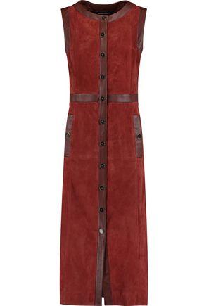 VANESSA SEWARD Leather-trimmed suede dress