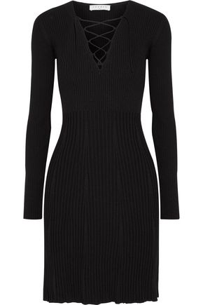 SANDRO Lace-up ribbed-knit mini dress