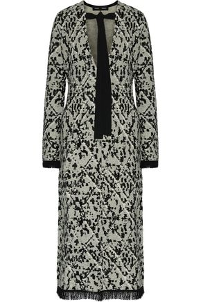 PROENZA SCHOULER Tie-front fringed intarsia-knit midi dress