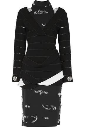 PROENZA SCHOULER Layered cutout cady and fil coupé crepe midi dress