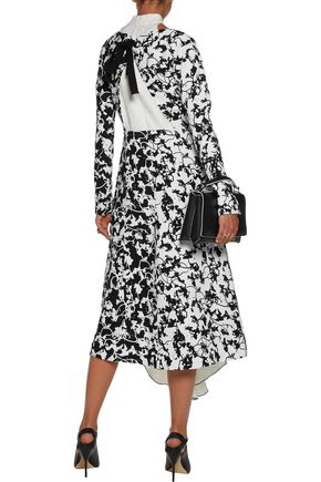 PROENZA SCHOULER Lace-up layered printed crepe and jacquard midi dress