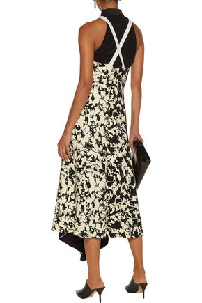 PROENZA SCHOULER Jacquard layered lace-up printed cady midi dress