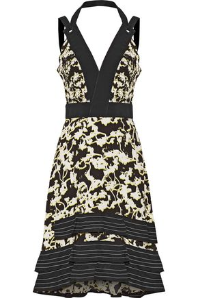 PROENZA SCHOULER Matelassé-paneled printed silk-georgette midi dress