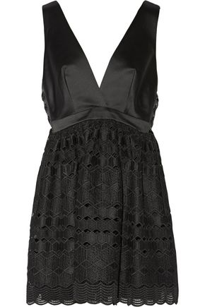 SANDRO Luminary satin and lace mini dress