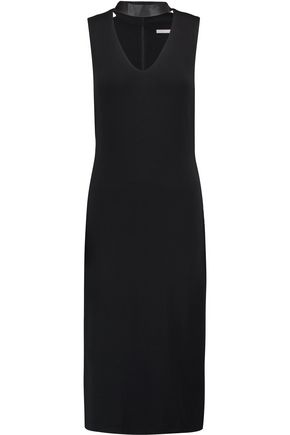 TART Cynthia faux leather-trimmed stretch-jersey dress