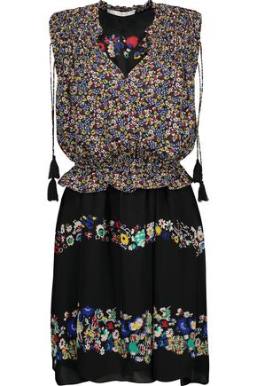 10 CROSBY DEREK LAM Layered ruched floral-print silk-chiffon mini dress