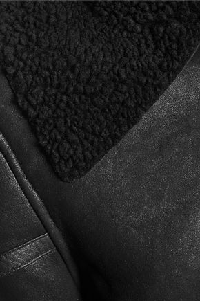 W118 by WALTER BAKER Shearling-trimmed textured-leather jacket
