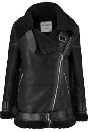 W118 by WALTER BAKER Faux fur-trimmed textured-leather jacket
