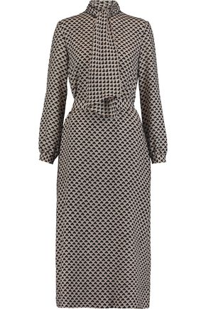 VANESSA SEWARD Pussy-bow intarsia wool midi dress