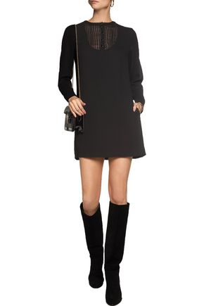 VANESSA SEWARD Pleated silk-voile paneled wool-crepe mini dress
