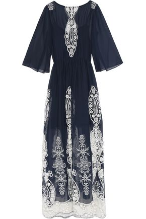 ALICE + OLIVIA Embroidered chiffon maxi dress