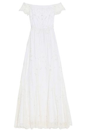 ALICE + OLIVIA Sequin-embellished lace gown