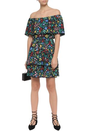 ALICE + OLIVIA Off-the-shoulder tiered floral-print crepe mini dress