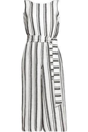 ALICE + OLIVIA Cropped striped linen jumpsuit