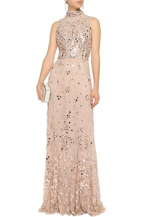 ... ALICE+OLIVIA Embellished lace gown ...