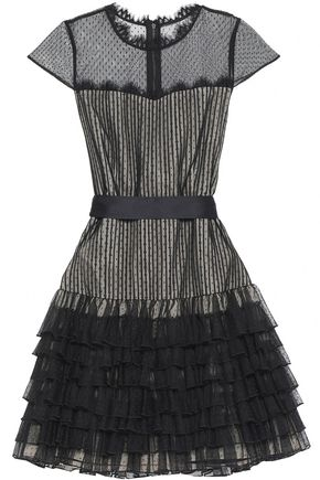ALICE + OLIVIA Lace-trimmed ruffled point d'esprit mini dress