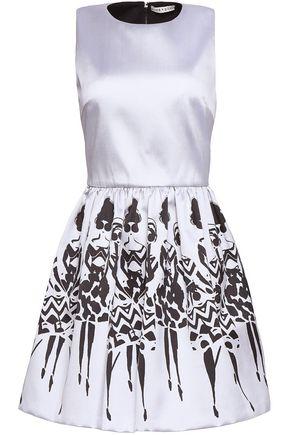 ALICE + OLIVIA Pleated printed twill mini dress