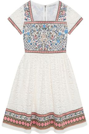 ALICE + OLIVIA Embroidered cotton-blend and lace paneled dress