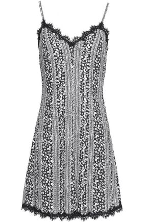 ALICE + OLIVIA Lace-trimmed printed cvady mini dress
