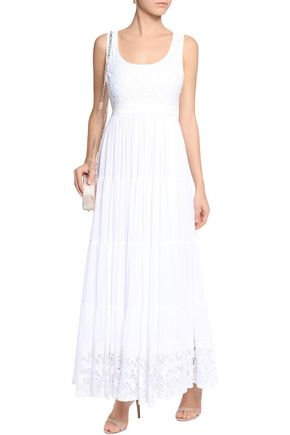 ALICE + OLIVIA Lace-trimmed voiled maxi dress