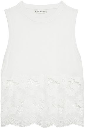 ALICE + OLIVIA Guipure lace-paneled stretch-cotton top