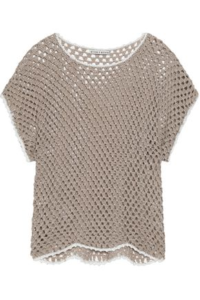 ALICE + OLIVIA Crocheted-knit linen and cotton-blend top