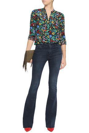 ALICE + OLIVIA Floral-print silk top