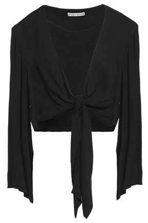 ALICE+OLIVIA Cropped knot-detailed draped jersey top