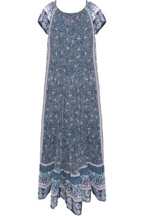 JOIE Avatara off-the-shoulder gathered printed silk-georgette maxi dress