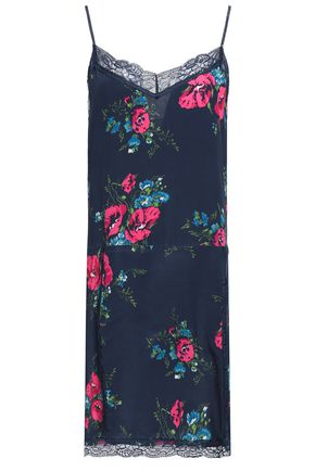 JOIE Lace-trimmed floral-print silk mini dress