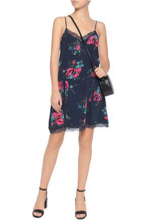 Sale New Joie Woman Lace-trimmed Floral-print Silk Mini Dress Navy Size M Joie Cheap 2018 Unisex Cheap Marketable Discount Shop Offer Footlocker Pictures Cheap Price sPpYij