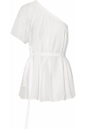HELMUT LANG One-shoulder pleated cotton-gauze top