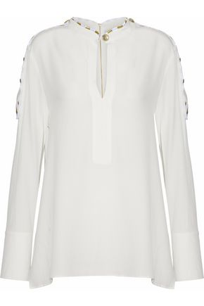 PIERRE BALMAIN Embroidered washed-silk blouse