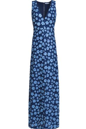ALICE + OLIVIA Floral-appliqued guipure lace maxi dress