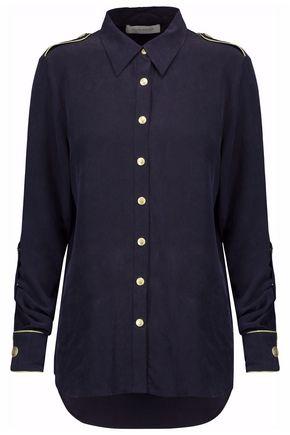 PIERRE BALMAIN Metallic silk-crepe blouse