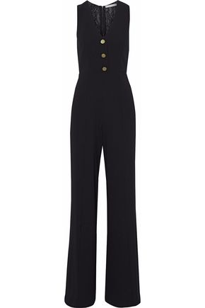 ALICE + OLIVIA Lace-paneled crepe jumpsuit