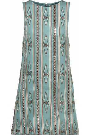 ALICE + OLIVIA Embroidered cotton flared minin dress
