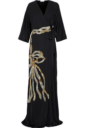 VIONNET Sequin-embellished stretch-silk gown