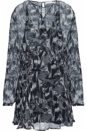 IRO Ruffled printed mini dress