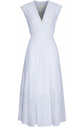 OSCAR DE LA RENTA Pleated eyelet cotton-poplin midi dress